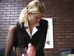 He gets rough handjob from blonde in suit tubes