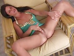Spreading her legs to rub her hot clit tubes