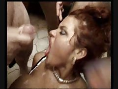 Gangfuck the hot German whore and cum on her tubes