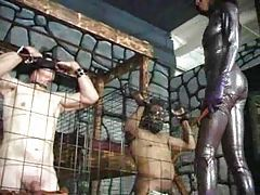 Two slaves submit to CBT from mistress tubes