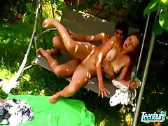Great outdoor sex with a young couple tubes