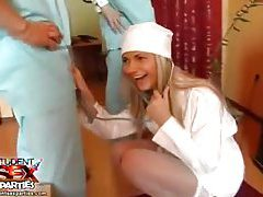 Hot nurse in white stockings at a party tubes