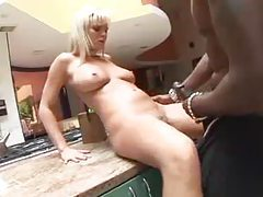 Bree Olson blows a black guy in kitchen tubes