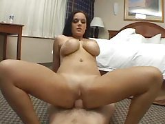 Curvy brunette titjob and cum on her face tubes