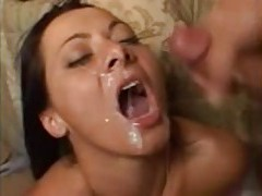 Three men share her in the bedroom tube
