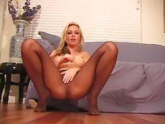 Incredible big tits blonde pantyhose tease tubes