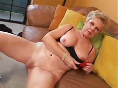 Granny masturbates her cunt and swallows cum tubes