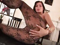 Babe in pantyhose shows shaved vagina tubes