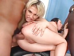 Enjoying the taste of asshole in threesome tubes