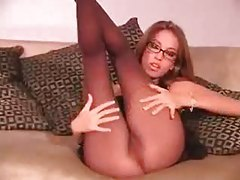 Jenn Haze in glasses and pantyhose tease tubes