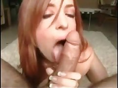 Redhead Riley Shy sucks dick on her knees tubes