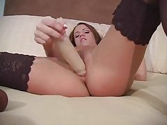 Satin lingerie striptease and toy sex tubes
