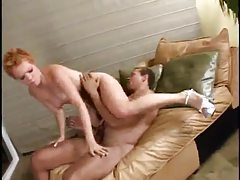 Spunky chick with short red hair pounded hard tubes