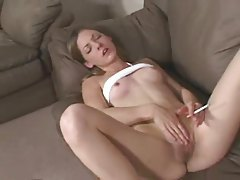Skinny girl smokes while she masturbates tubes