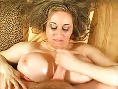 Fat girl with lubed up tits pleasures him tubes