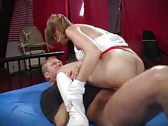 Nurse in latex gloves fcked by two guys tubes