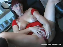 Busty amateur wife toys sucks and fucks on a table tubes