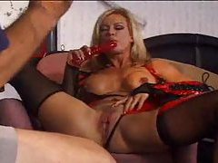 She masturbates for him in latex lingerie tubes