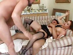 Chick in a lingerie set has three guys fucking her tubes