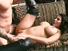 Busty gorgeous girl in boots fucked hard tubes