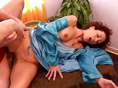 Wife in robe and satin slip has hardcore sex tubes