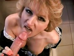 French maid milf sucks cock in bathroom tubes