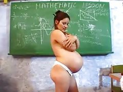 Pregnant teacher masturbates in classroom tubes