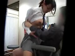 Asian schoolgirl in a skirt rides her doctor tubes