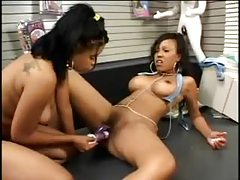 They try out toys in the dildo store tubes