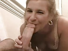 Cute blowjob girl swallows his cum tubes