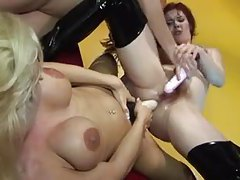 Insertions and strapon in lesbian threesome tubes