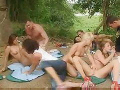 Russian student party outdoors with fucking tubes