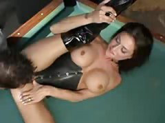 Looking hot in leather and latex and sucking cock tubes