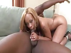 Black girl in heels sucks a thick cock tubes