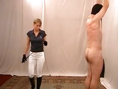 Girl in riding clothes genuinely whips her man tubes