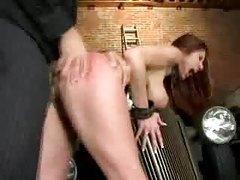 Bondage girl in black latex corset fucked hard tubes
