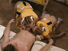 Fit lucky guy blown by two cheerleaders tubes