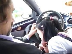 Schoolgirl sucks him in car and they fuck in bed tubes