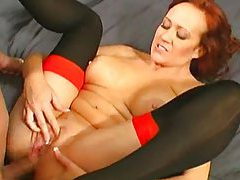 Redhead loves the anal sex and facial tubes