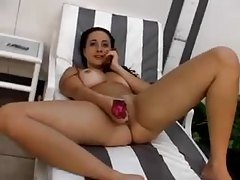 She comes out of the pool to dildo play tubes