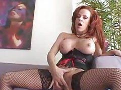 Redhead milf in stunning lingerie sucks black cock tubes