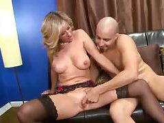 Hot milf gets him off in his home office tubes