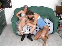 Granny with hairy box sits on a dick tubes