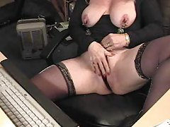 Mature webcam show with clamps on nips tubes