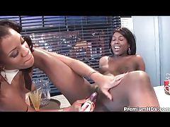 Black girls in a diner have lesbian sex tubes