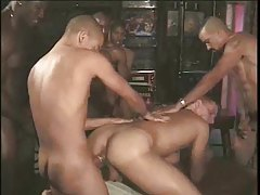 Black guys pull a train on white guy in gangbang tubes