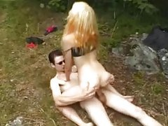 Skinny blonde teen slow sex in the woods tubes