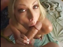 Blonde on her knees sucking for cumshots tubes