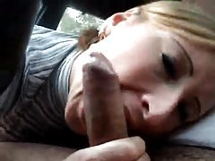 Amateur gives condom blowjob in a car tubes