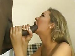 Black guy takes off her bikini and she blows him tubes